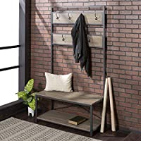 WE Furniture Industrial Metal and Wood Hall Tree in...
