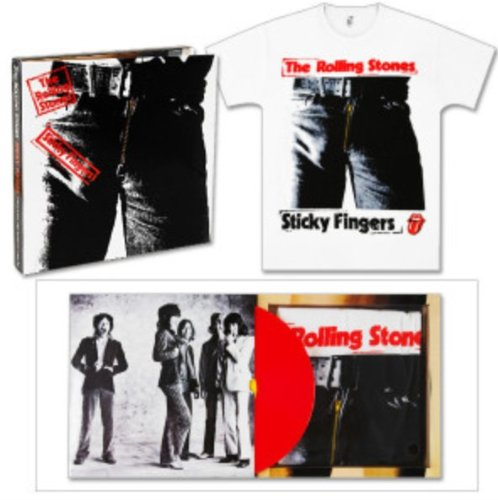 Sticky Fingers by The Rolling Stones Collectible Limited Red Vinyl LP Record and Medium T-Shirt Box Set