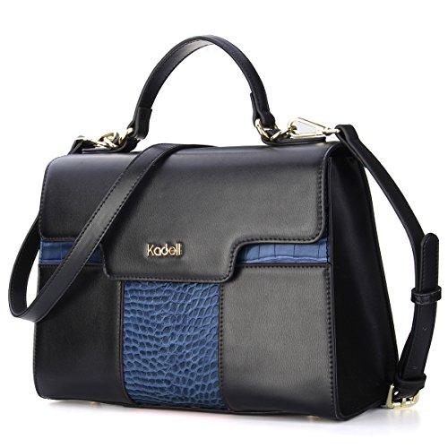 Kadell Women Vintage Leather Handbags Tote Shoulder Bag Satchel Purse for Ladies Blue