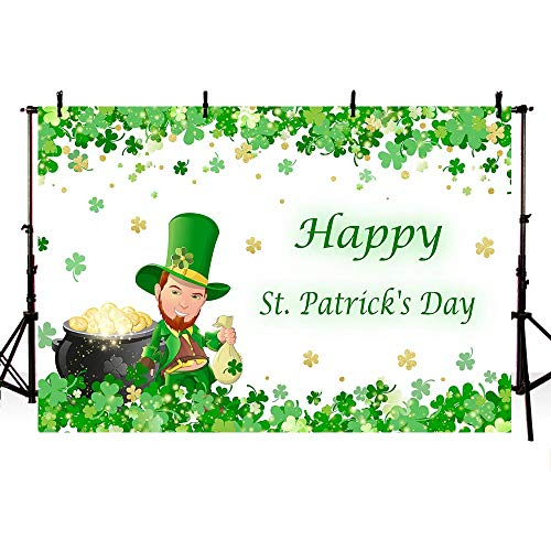 COMOPHOTO 7x5ft Saint Patricks Day Background Irish Green Lucky Shamrock Holiday Party Banner Decorations Photography Backdrops Photo Booth Props