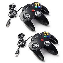 2 Pack kiwitatá Classic Nintendo 64 USB controller,N64 Bit Retro USB Wired Game Controller Joypad Gamepad for iOS, Android,Windows PC & Mac Black