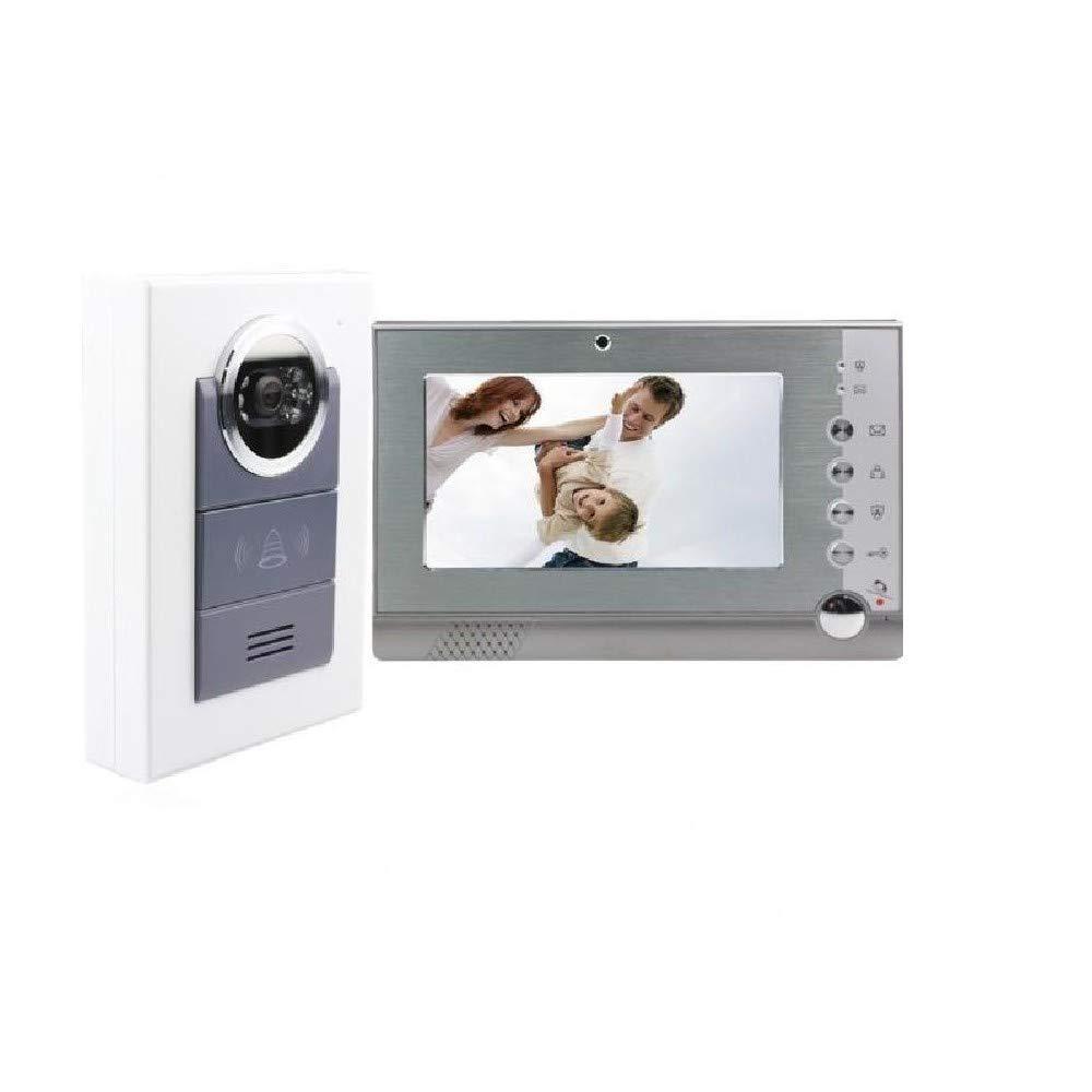 'tradeshoptraesio® – Kit Video Türsprechanlage Gegensprechanlage Monitor 7 Aufnahme Kamera IR Tag Nacht