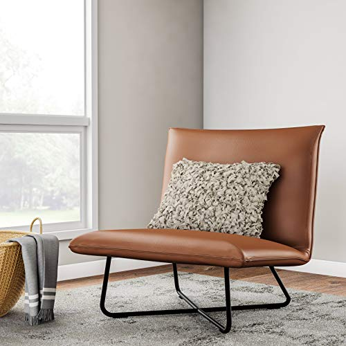 Brown Pillow Lounge Chair, Non-mar Foot Glides Included, Easy Assembly, Hardware Included, Crafted from Metal, Plywood, and Bonded Leather, Fill is Made from Foam and Fiber, Saddle Brown Upholstery