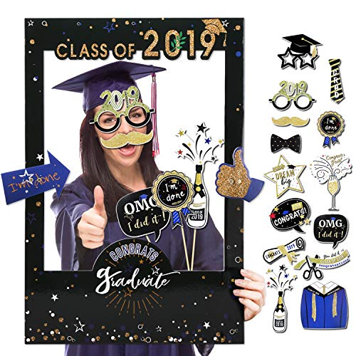 Konsait Graduation Photo Booth Props with Class of 2019 Grad Photo Booth Frame Selfie Picture Frame DIY Kit for Graduation Party Decorations Party Favors Supplies