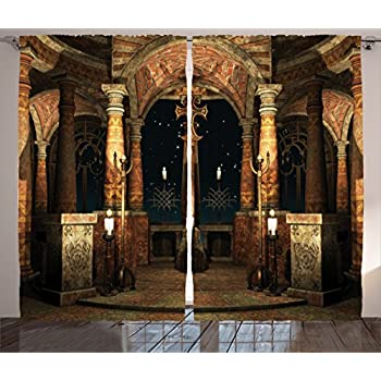 Ambesonne Gothic Curtains, Dark Mystic Hall with Pillars and Dome Shrine Building Illustration, Living Room Bedroom Window Drapes 2 Panel Set, 108