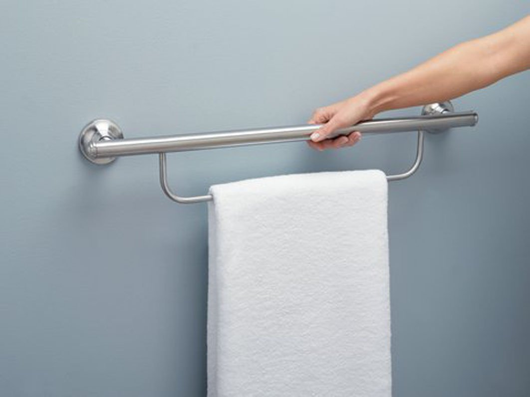Moen LR2350DBN Bathroom Safety 24-Inch Grab Bar with Towel Bar, Brushed Nickel