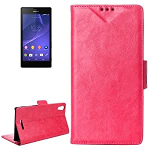 Crazy Horse Texture Horizontal Flip Leather Case with Card Slots & Holder for Sony Xperia T3 / M50W(Magenta)