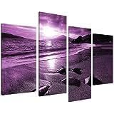Large Purple Landscape Canvas Wall Art Pictures XL 130cm Prints 4077