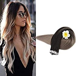 Full Shine 24 inch Balayage Tape in Hair Extensions 20 Pcs Human Hair Tape Extensions Color #1B Off Black Fading to #18 Ash Blonde Balayage Ombre Extensions 50 Gram Per Package