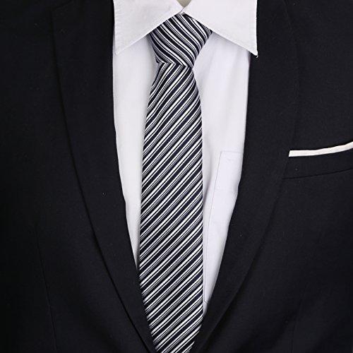 Handkerchief Navy Tie amp; White Hanky Selection Giftbox Cufflink Men Handmade Silk 5 Tie Set Slim Classic LanSilk Necktie Stripe Cufflinks Silk 100 Set Tie FUq8wnS
