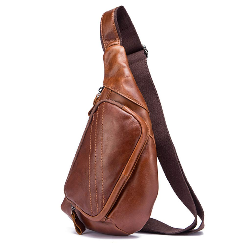 Style 1  Brown Vintage Men's Genuine Leather Sling Bag Crossbody Backpack Multipurpose Single Shoulder Chest Pack (Style 5 Black)