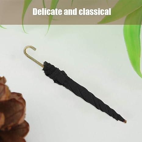 1Pc Mini Black Umbrella For 1:12 Miniature Dollhouse Decoration Room M7S9