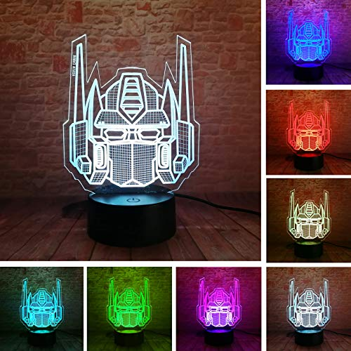 (Fanrui Creative Autobots 3D Knight Trans Figure Optimus Prime Transformers 7 Color Change Touch Button and Control Led Night Light Decor Fans Man Boys Kids Teens Holiday Xmas Child Birthday Xmas Favor)