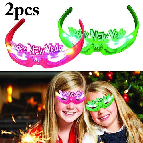 LED Glasses,Outgeek Happy New Year Light Up Glasses Flashing Shutter Glasses Bulk Favors Costumes Glasses Glow in The Dark Parties Supplies El Wire Glow Slotted Shades Glasses for Christmas Birthday P
