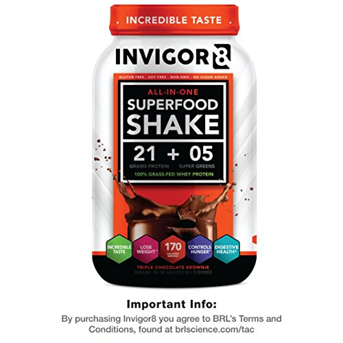 Invigor8 Superfood Shake Gluten Free And Non Gmo Meal Replacement Grass Fed Whey Protein Shake With Probiotics And Omega 3  645G     Chocolate Brownie