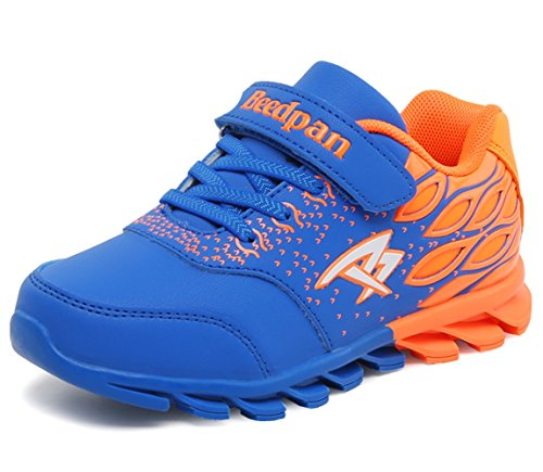 Hoxekle Breathable Kids Sneaker Rubber Anti-slip Sole Boys Girls Athletic Shoes Sapphire Orange 1 M US Little (Baby Spice Shoes)