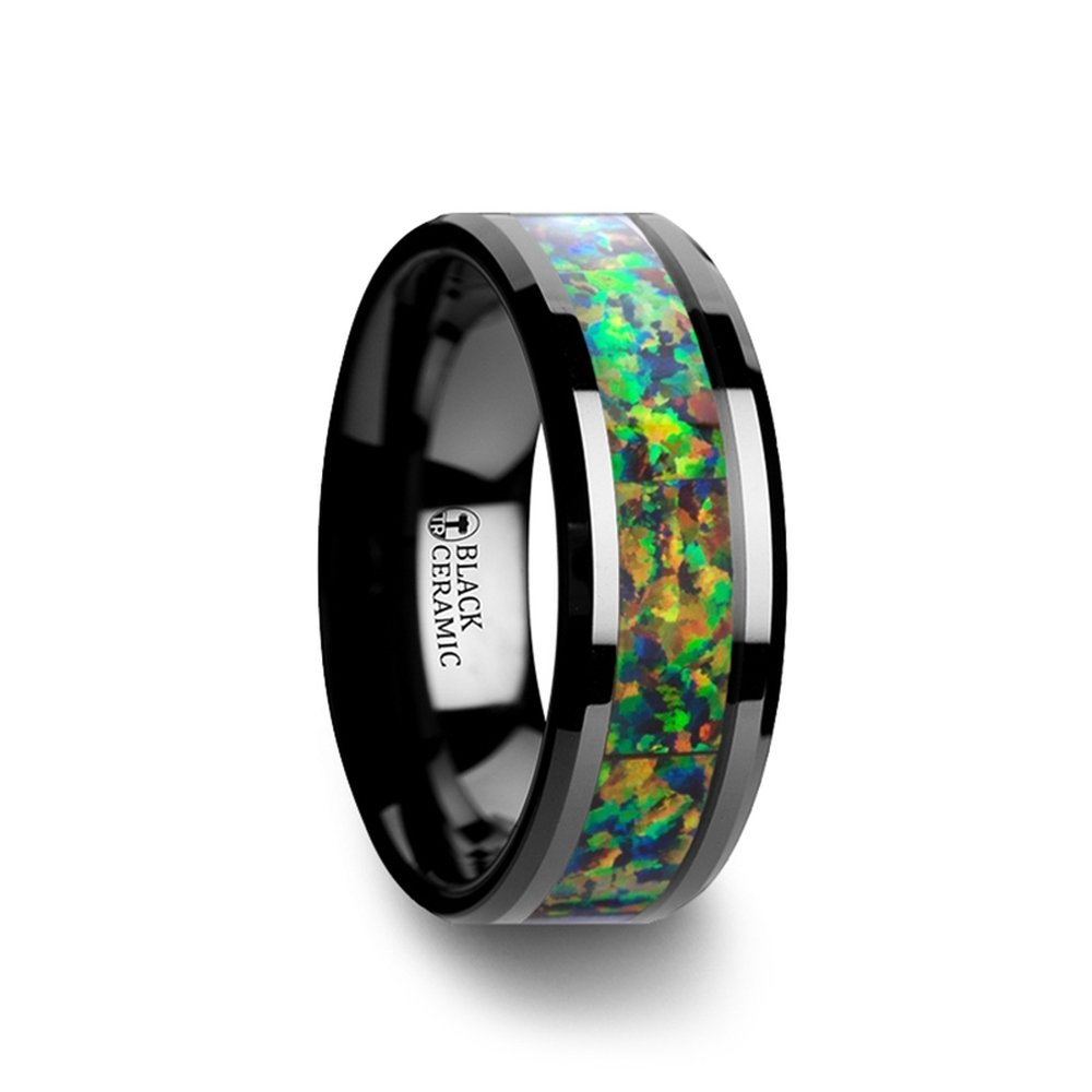 GALACTIC Black Ceramic Wedding Band with Beveled Edges and Blue & Orange Opal Inlay - 8mm