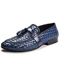 Genuine Woven Leather Men Tassel Loafers Slip On Business Dress Shoes