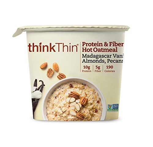 Oatmeal Cups by thinkThin, Instant Protein & Fiber Hot Oatmeal for On The Go- 10g Protein, 5g Fiber, Vegan - Madagascar Vanilla with Almonds and Pecans, 1.76 oz Cup (6 Cups)