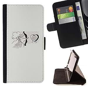 For Apple (4.7 inches!!!) iPhone 6 / 6S Case , Cupid del ángel del amor del corazón de San Valentín- la tarjeta de Crédito Slots PU Funda de cuero Monedero caso cubierta de piel