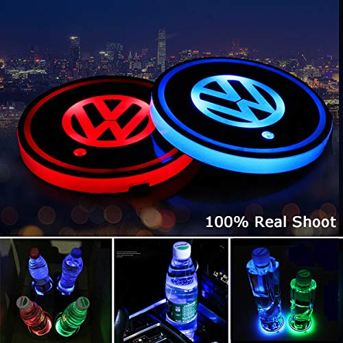 AutoDIY Led Car Logo Cup Lights up Holder USB Charging Waterproof Bottle Drinks pad 7 Colors Changing Atmosphere Lamp mat Cars for Luminous Coasters 2PCS (for Volkswage.n)