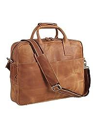 Polare Men's Thick Authentic Genuine Leather 17'' Laptop Case Bag Briefcase (Light Brown)