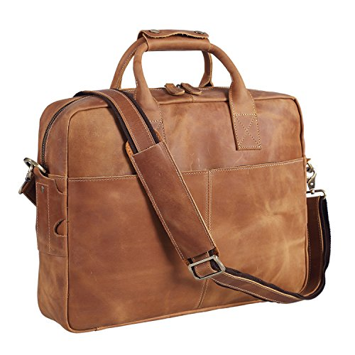 Polare Men's Thick Authentic Genuine Leather 16'' Laptop Case Bag ()