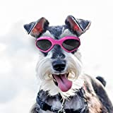 Dog Goggles Sunglasses Waterproof Windproof UV Protection for Small Medium Dogs and Cats Glasses - Vet Recommended Eye Protection(Rose Red)