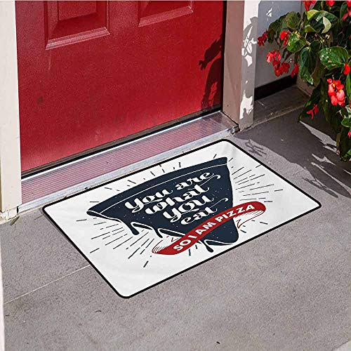 (Funny Words Inlet Outdoor Door mat Grunge Pizza Slice with Retro Effect Humor Phrase About Fast Food Catch dust Snow and mud W35.4 x L47.2 Inch Dark Blue Red and Grey)