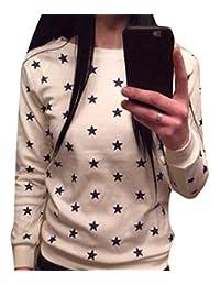 YLnini Women Long Sleeve Star Print Sweater Pullover Sweatshirt