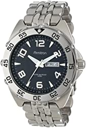 Armitron Men's 204665BKSV Silver-Tone Stainless-Steel Black Dial Dress Bracelet Watch