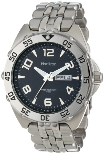 Armitron Men's 204665BKSV Silver-Tone Stainless-Steel Black Dial Dress Bracelet Watch