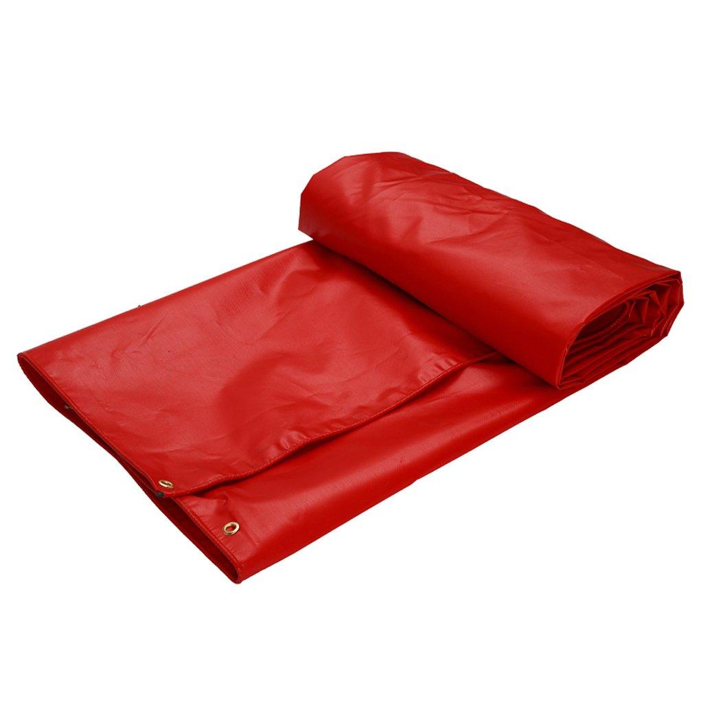 厚い防水布の防水の日焼け止めの防水シートのターポリンのトラックの車のPVCの雨天幕布 (色 : Red, サイズ さいず : 6 * 5m) B07FLVLXF5 6*5m|Red Red 6*5m