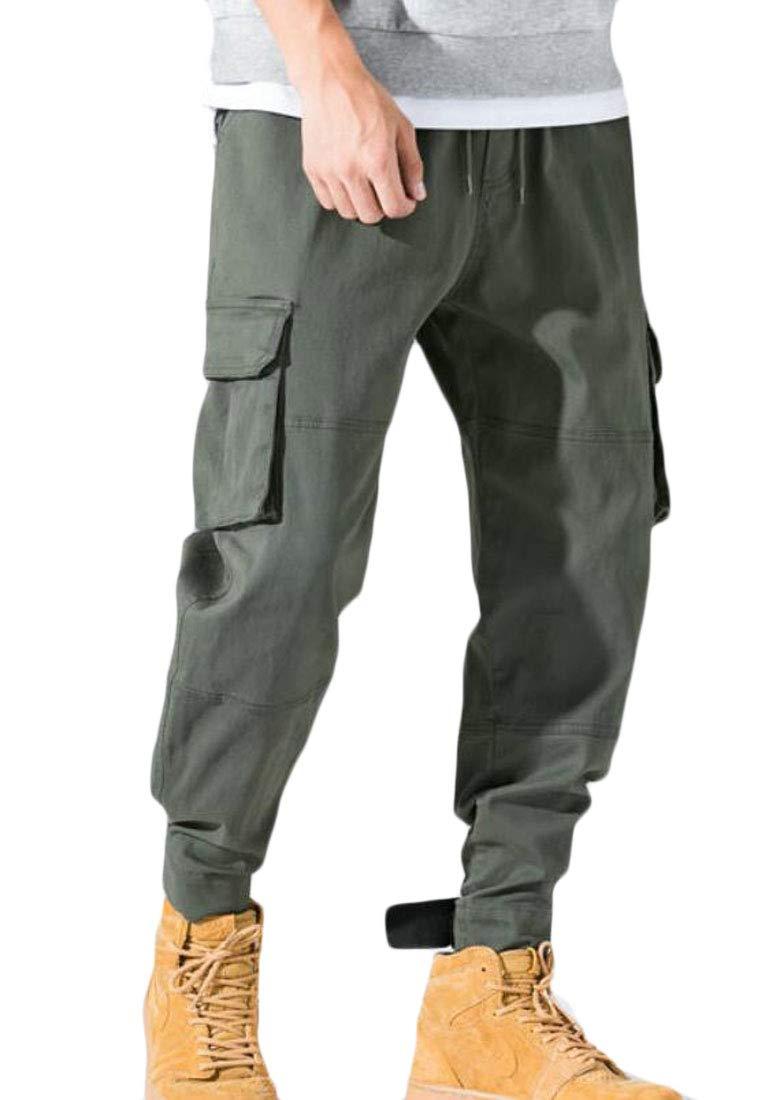 Domple Men Elastic Waist Jogger Basic Multi Pockets Cargo Long Pants Army Green M