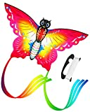 Aitey Easy Fly Kites, Rainbow Butterfly Kites for Kids and Adult, One of the Best Outdoor Games and Activities, with 165'' of Line and Handle - Great Beginner, Amateur Kite (Red)
