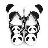 Summerwhisper Women's Men's Cute Panda Durable Thong Sandals Antiskid Beach Flip Flops Unisex Black 6 D(M) US