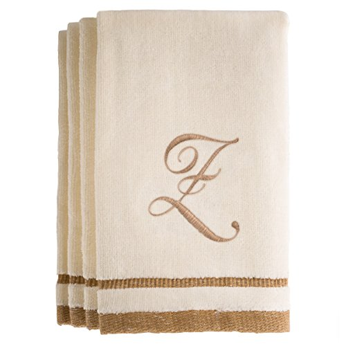 Monogrammed Gifts, Fingertip Towels, 11 x 18 Inches - Set of 4- Decorative Golden Brown Embroidered Towel - Extra Absorbent 100% Cotton- Personalized Gift- For Bathroom/ Kitchen- Initial Z (Ivory) (Canada Tan Towels)