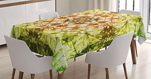 Ambesonne Tie Dye Decor Tablecloth, Round Creepy Figure with Saturated Fractal Colors with Faded Pleat Motifs, Dining Room Kitchen Rectangular Table Cover, 60 W X 84 L inches, Green Brown -