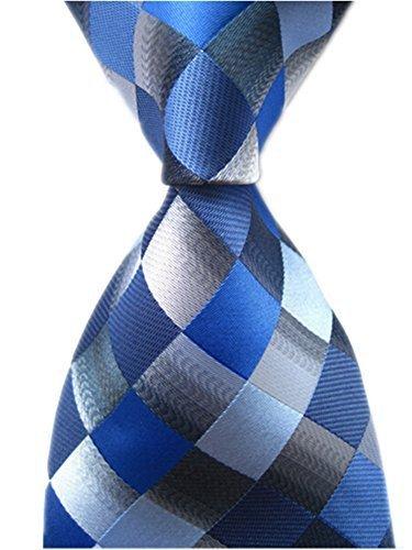 Silk Narrow Ties Blue (Secdtie Men's Classic Checks Light Blue Jacquard Woven Silk Tie Necktie (One Size, Dark Blue) )
