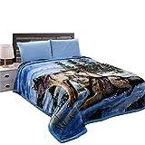 "JML Heavy Warm Blanket, Plush Blanket King Size 85"" x 95"" - Korean Style, 9 Pounds, 2 Ply Printed, Silky Soft Wrinkle and Fade Resistant Hypoallergenic Raschel Fleece Blanket, Blue Wolf"
