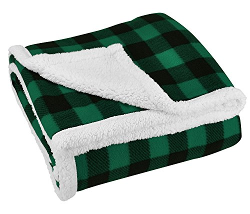 Terrania Green Buffalo Plaid Sherpa Throw Blanket 50