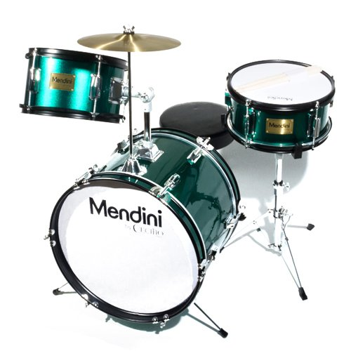 Mendini by Cecilio 16 inch 3-Piece Kids/Junior Drum Set with Adjustable Throne, Cymbal, Pedal & Drumsticks, Metallic Green, MJDS-3-GN ()