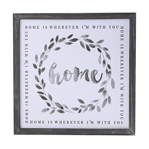 NIKKY HOME Wood Framed Wall Art Prints with Motivational Quote Home is Wherever I'm with You ()