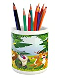 Ambesonne Nursery Pencil Pen Holder, Group of Safari Jungle Animals with Funny Expressions Cute African Savannah Mascots, Printed Ceramic Pencil Pen Holder for Desk Office Accessory, Multicolor