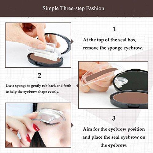 CCbeauty Eyebrow Powder Stamper Seal Kit Eyebrow Kit Powder Waterproof Makeup Eyebrow Tinting Coloring Kit,Light Brown by CCbeauty (Image #6)