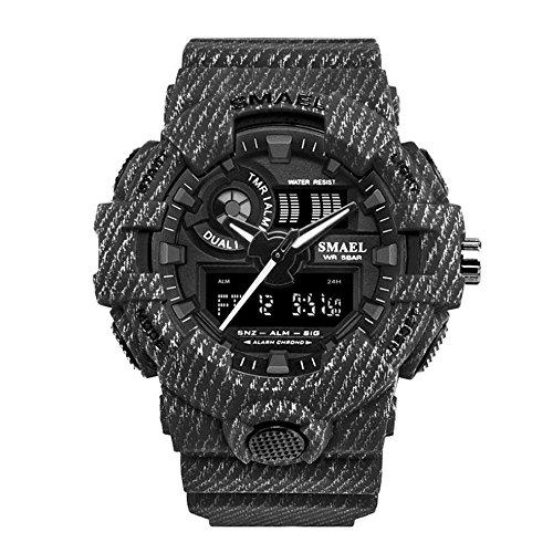 Cowboy Sport Watch Military LED Digital Wrist Watches 50m Waterproof Men's Watch (black) (Watch Mens Cowboys Sport)
