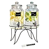 glass beverage dispenser on stand - Durable Hammered Glass Double Beverage Drink Dispenser On Stand - 1 Gallon Each Jug - Erasable Chalkboard Hanging Sign with Liquid Chalk Marker for Home Bar & Party Centerpiece