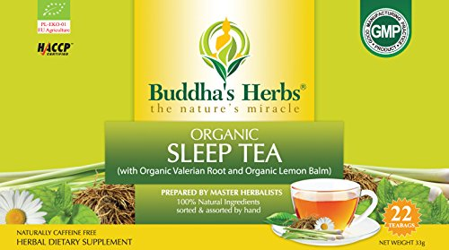 Buddha's Herbs Premium Organic Sleep tea with Valerian Root , Lemon Balm and Chamomile - 44 Tea bags (Pack of ()