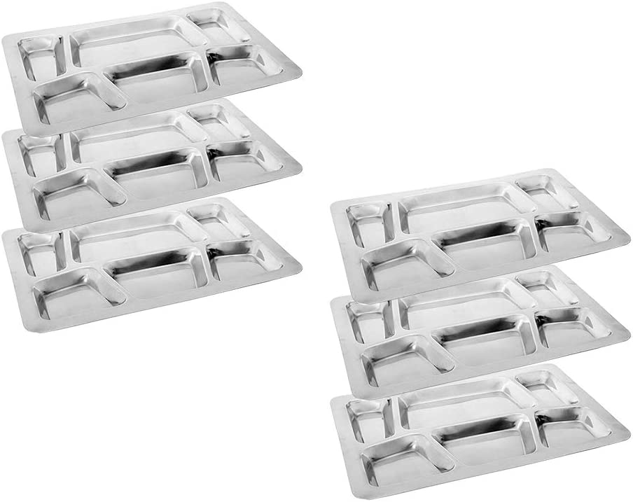 Khandekar Pack of 6 Large 6 Compartment Cafeteria Food Tray, Cafeteria Eating Mess Tray, Heavy Duty Divided Dinner Plate for Travel, Picnic - Silver, 15 inch