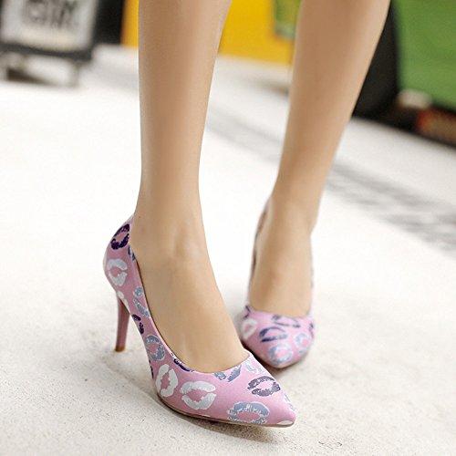 Easemax Femmes Sexy Bout Pointu Bas Haut Lèvres Impression Haut Talon Aiguilles Pompes Chaussures Violet